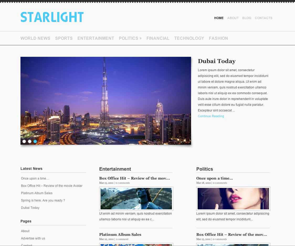 pnews wordpress theme starlight