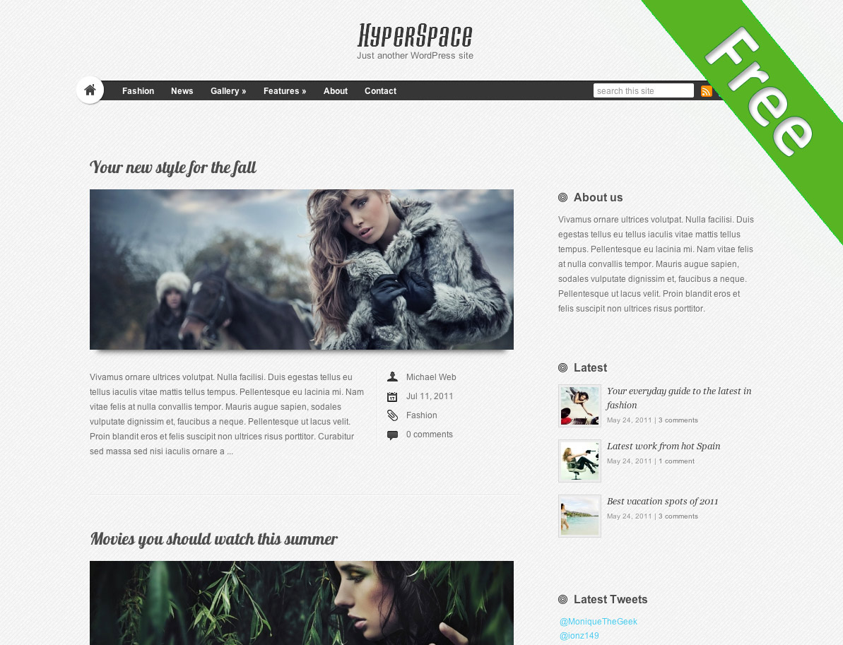 free wordpress theme hyperspace